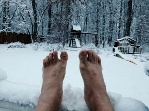 Is snow a body of water? Social media loves pictures of feet next to bodies of water.